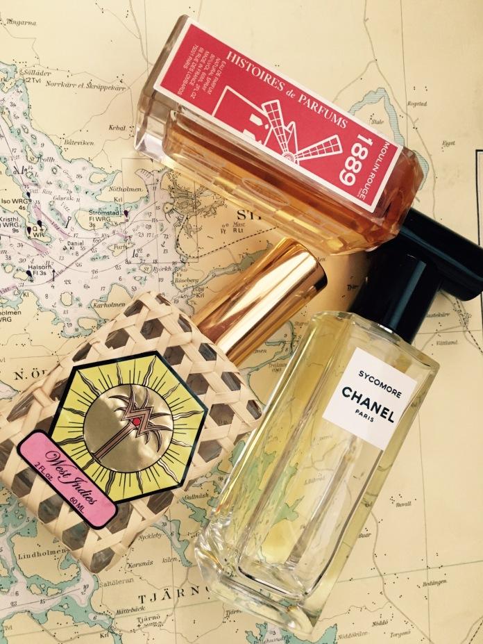 Histoires de Parfums 1889 Moulin Rouge, Chanel Sycomore (hej igen!) och St. Johns West Indies